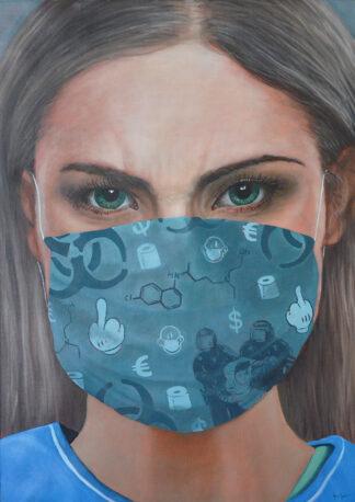 portrait infirmiere, peinture à l'huile. Antoine Seurot artiste peintre