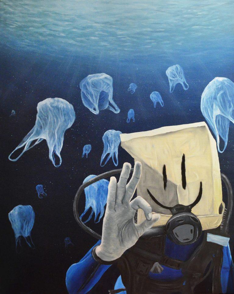 peinture art urbain artiste antoine seurot , le plongeur