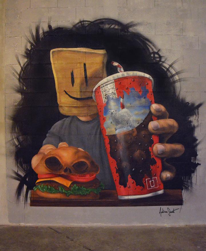 Mur street art par l'artiste Antoine Seurot