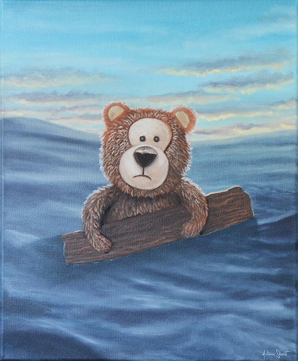 On n'est pas chez les bisounours. Peinture à l'huile sur toile par l'artiste peintre Antoine Seurot.